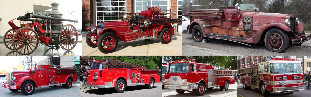 Collage of antique fire trucks